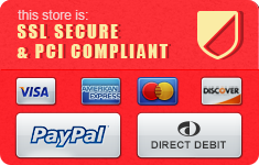 We are SSL Secure and Accept Visa, Mastercard, American Express, Paypal and Direct Debit